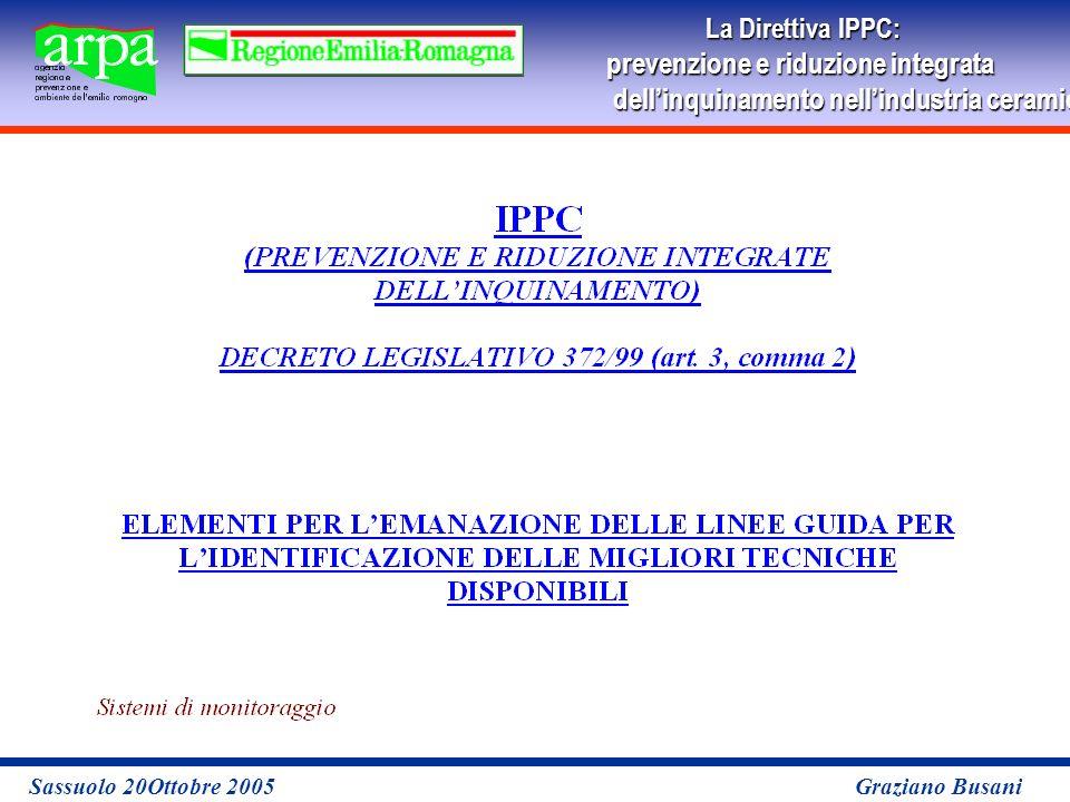 La Direttiva IPPC: prevenzione e riduzione integrata dellinquinamento nellindustria ceramicaper le imprese Sassuolo 20Ottobre 2005 Graziano Busani