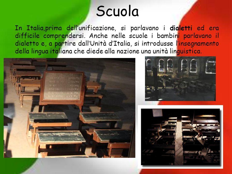 Scuola In Italia,prima dellunificazione, si parlavano i dialetti ed era difficile comprendersi. Anche nelle scuole i bambini parlavano il dialetto e,