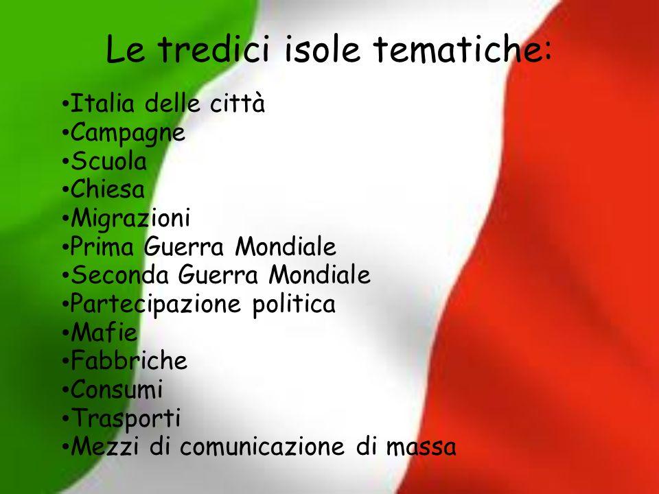 Le tredici isole tematiche: Italia delle città Campagne Scuola Chiesa Migrazioni Prima Guerra Mondiale Seconda Guerra Mondiale Partecipazione politica