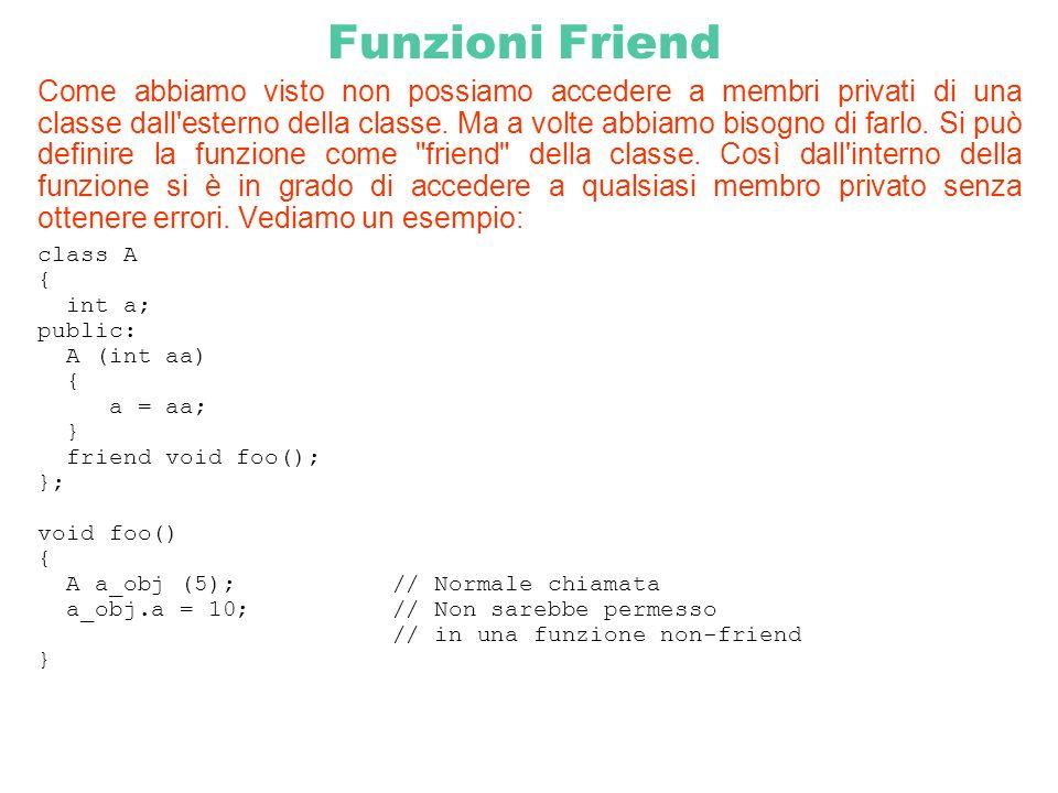 Funzioni Friend Come abbiamo visto non possiamo accedere a membri privati di una classe dall'esterno della classe. Ma a volte abbiamo bisogno di farlo