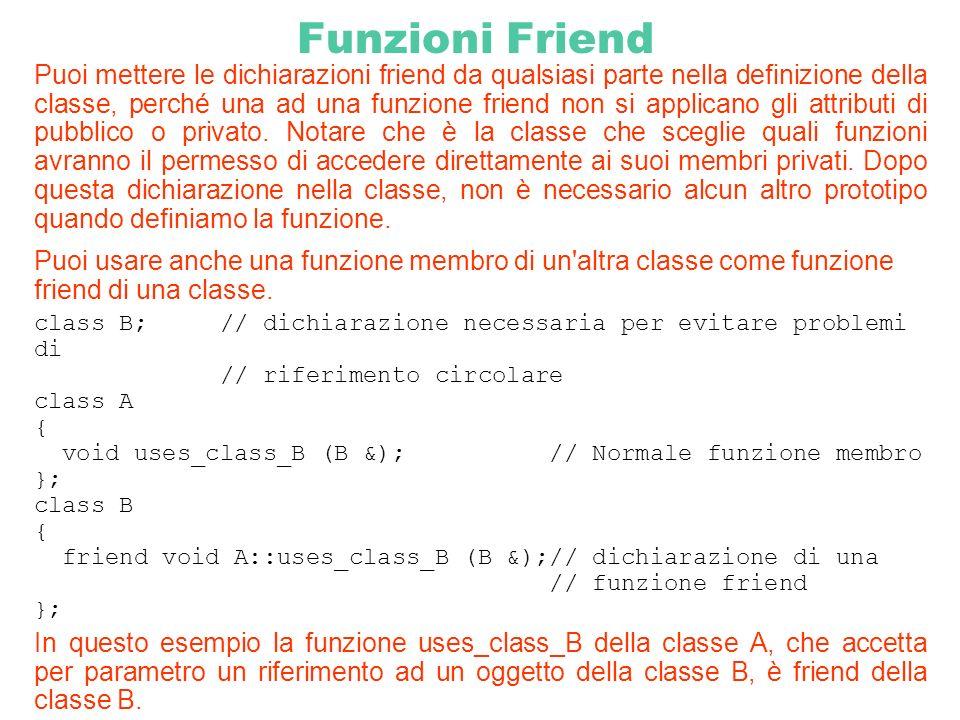 Funzioni Friend Puoi mettere le dichiarazioni friend da qualsiasi parte nella definizione della classe, perché una ad una funzione friend non si appli