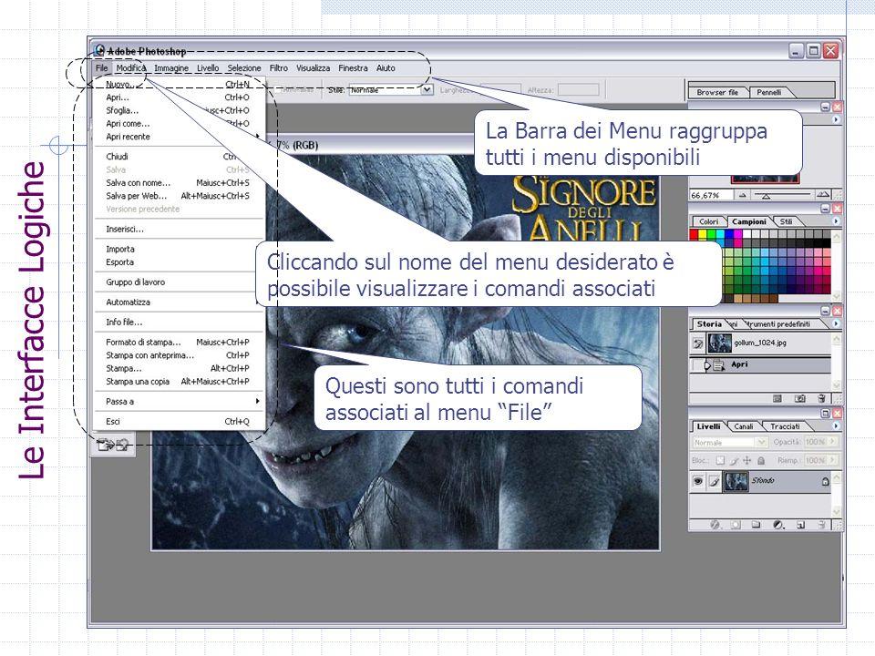 La Barra dei Menu raggruppa tutti i menu disponibili Cliccando sul nome del menu desiderato è possibile visualizzare i comandi associati Questi sono t