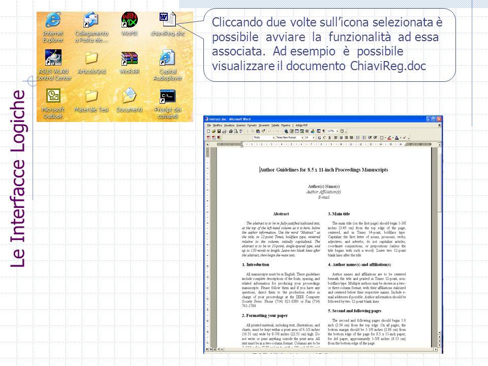Cliccando due volte sullicona selezionata è possibile avviare la funzionalità ad essa associata. Ad esempio è possibile visualizzare il documento Chia