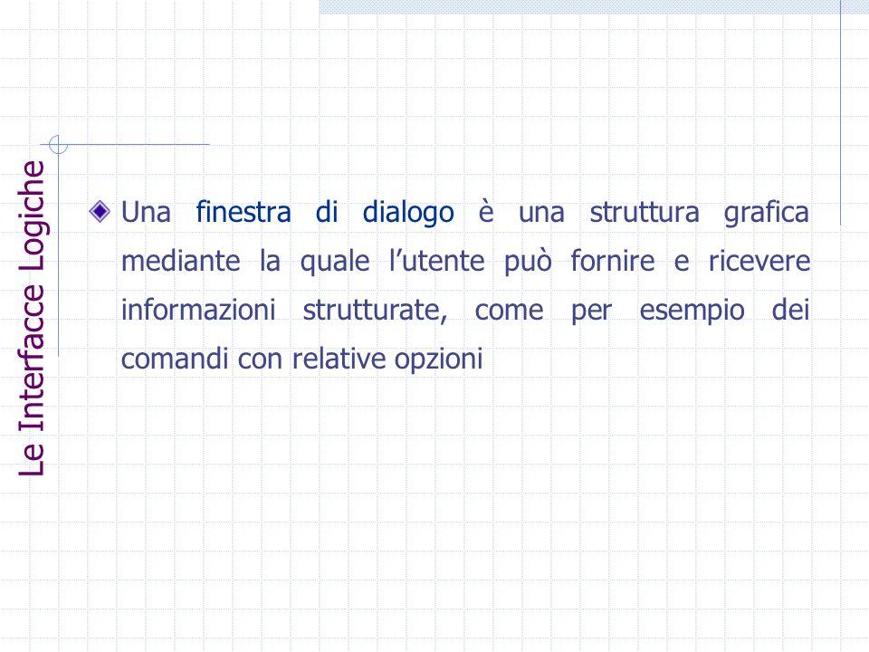 Una finestra di dialogo è una struttura grafica mediante la quale lutente può fornire e ricevere informazioni strutturate, come per esempio dei comand
