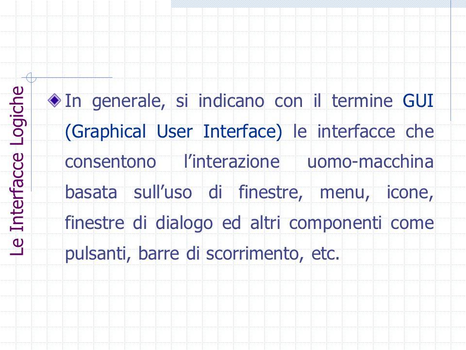 In generale, si indicano con il termine GUI (Graphical User Interface) le interfacce che consentono linterazione uomo-macchina basata sulluso di fines