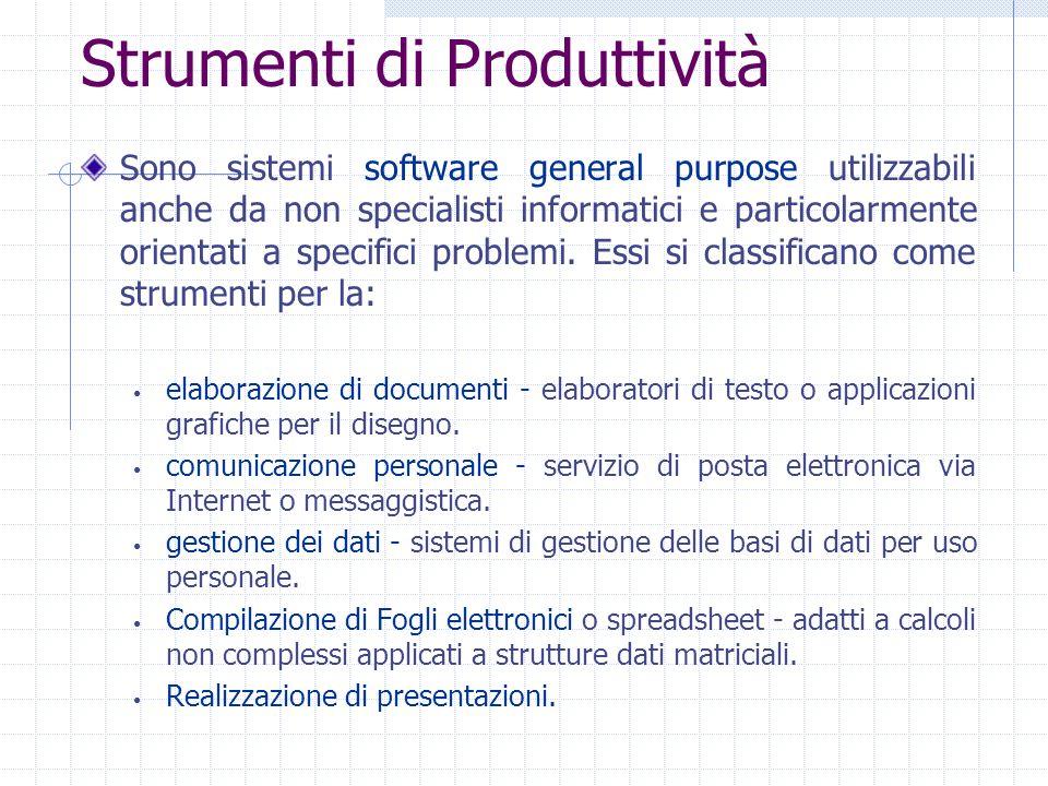 Strumenti di Produttività Sono sistemi software general purpose utilizzabili anche da non specialisti informatici e particolarmente orientati a specif