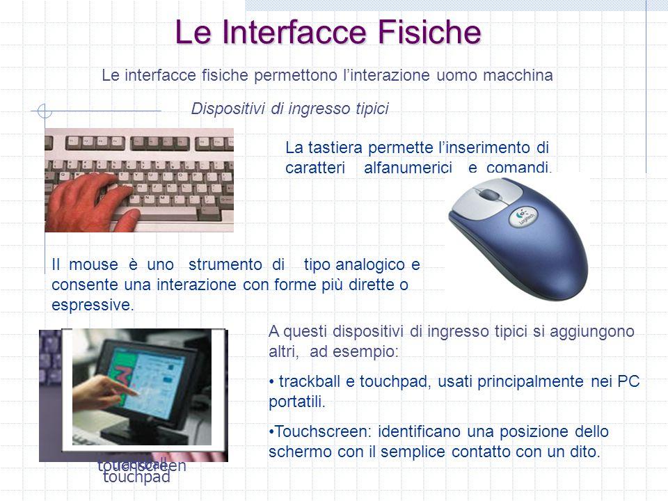Le Interfacce Fisiche Le interfacce fisiche permettono linterazione uomo macchina Dispositivi di ingresso tipici La tastiera permette linserimento di