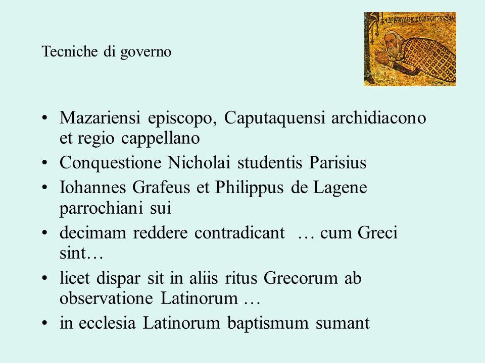 Mazariensi episcopo, Caputaquensi archidiacono et regio cappellano Conquestione Nicholai studentis Parisius Iohannes Grafeus et Philippus de Lagene pa