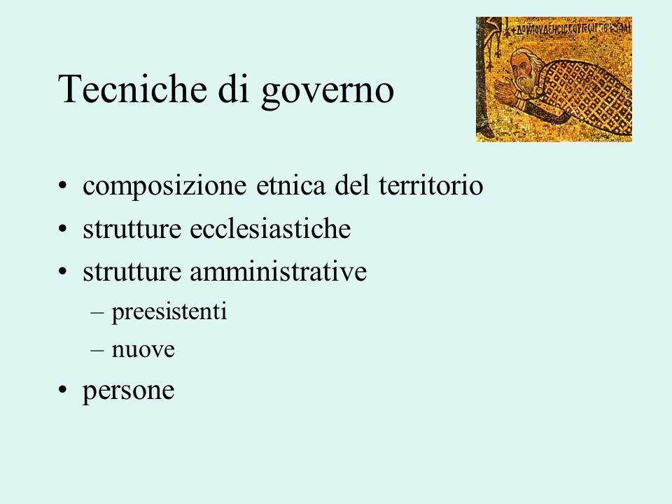Tecniche di governo composizione etnica del territorio strutture ecclesiastiche strutture amministrative –preesistenti –nuove persone