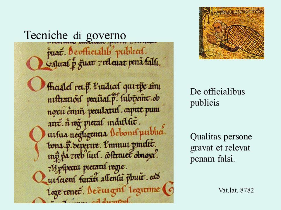 Tecniche di governo De officialibus publicis Qualitas persone gravat et relevat penam falsi. Vat.lat. 8782