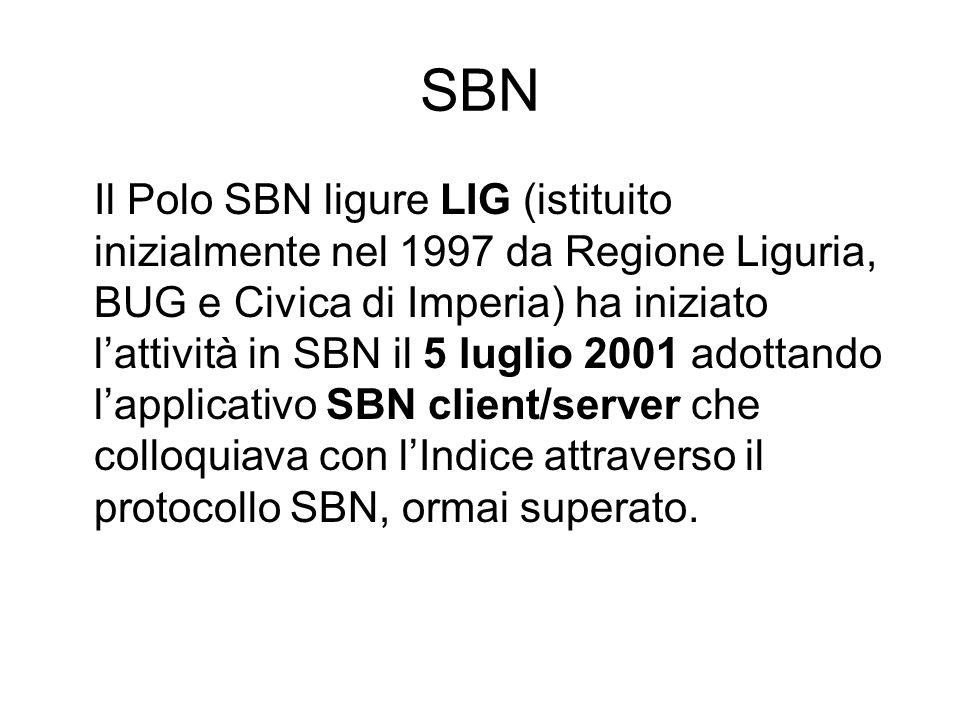 SBN Il Polo SBN ligure LIG (istituito inizialmente nel 1997 da Regione Liguria, BUG e Civica di Imperia) ha iniziato lattività in SBN il 5 luglio 2001