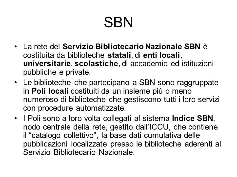 SBN La rete del Servizio Bibliotecario Nazionale SBN è costituita da biblioteche statali, di enti locali, universitarie, scolastiche, di accademie ed
