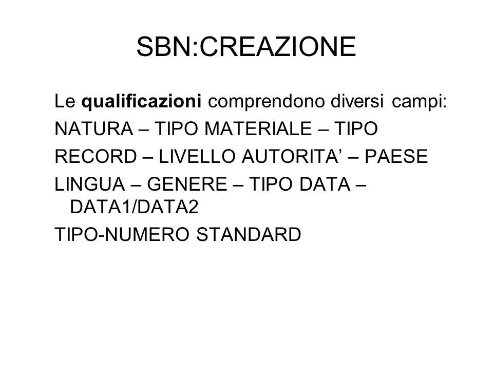 SBN:CREAZIONE Le qualificazioni comprendono diversi campi: NATURA – TIPO MATERIALE – TIPO RECORD – LIVELLO AUTORITA – PAESE LINGUA – GENERE – TIPO DAT