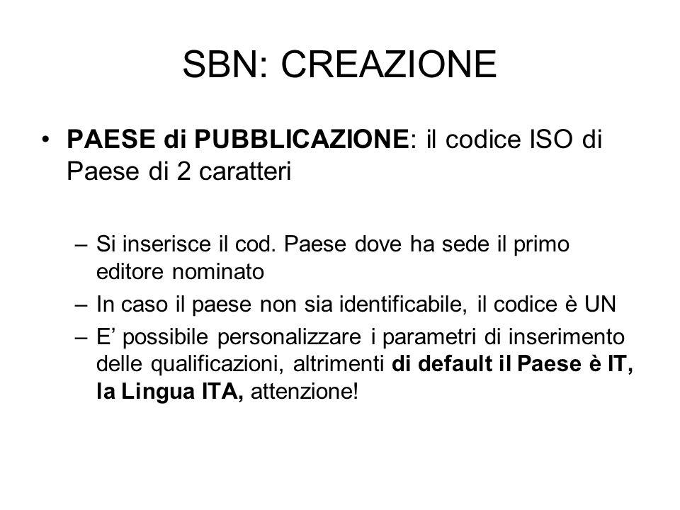 SBN: CREAZIONE PAESE di PUBBLICAZIONE: il codice ISO di Paese di 2 caratteri –Si inserisce il cod. Paese dove ha sede il primo editore nominato –In ca
