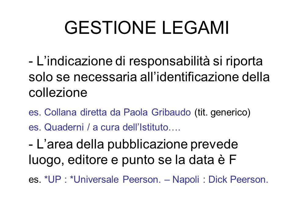 GESTIONE LEGAMI - Lindicazione di responsabilità si riporta solo se necessaria allidentificazione della collezione es. Collana diretta da Paola Gribau