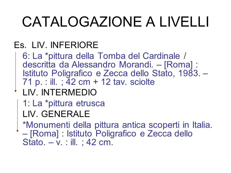 CATALOGAZIONE A LIVELLI Es. LIV. INFERIORE 6: La *pittura della Tomba del Cardinale / descritta da Alessandro Morandi. – [Roma] : Istituto Poligrafico