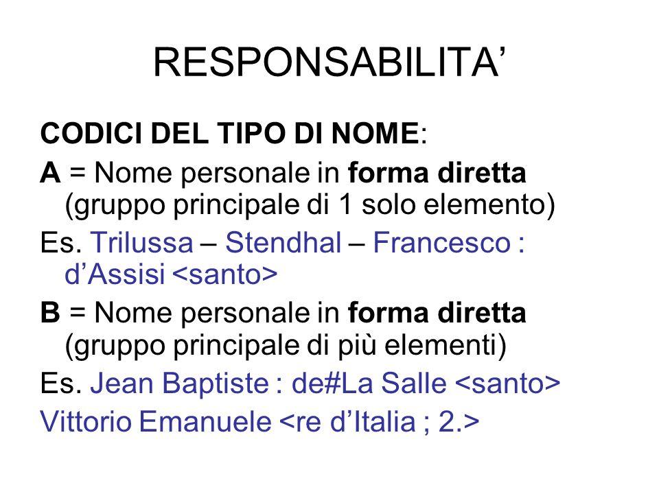 RESPONSABILITA CODICI DEL TIPO DI NOME: A = Nome personale in forma diretta (gruppo principale di 1 solo elemento) Es. Trilussa – Stendhal – Francesco