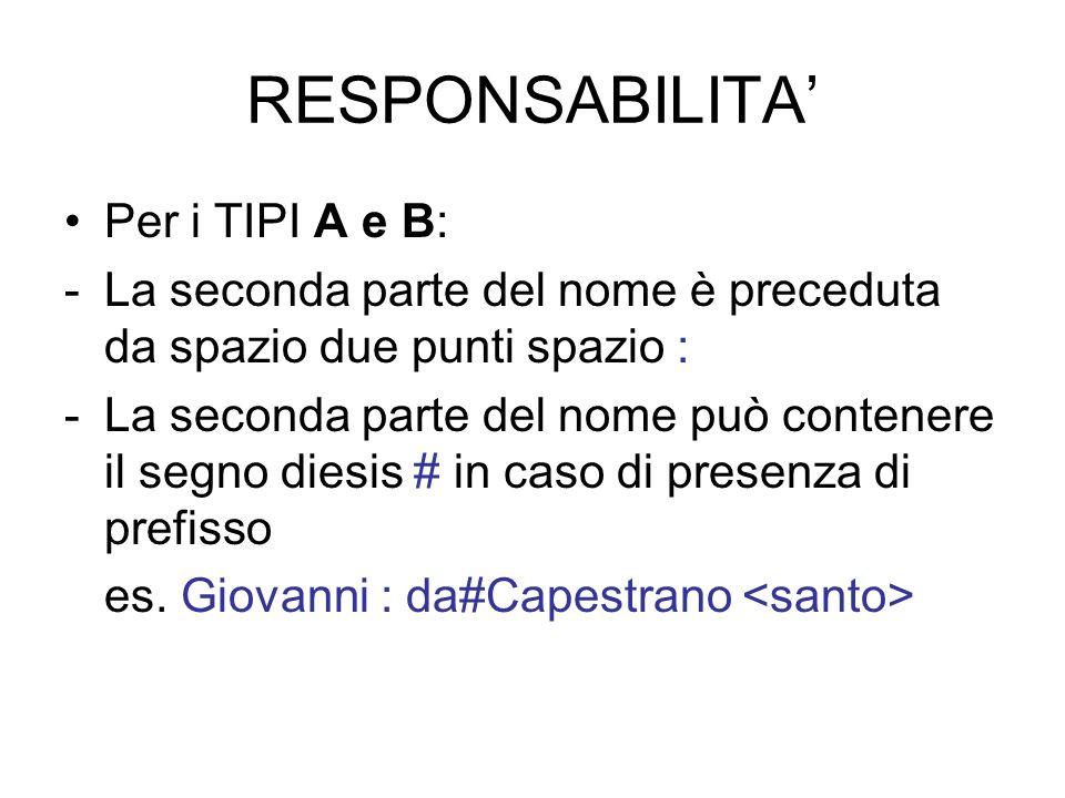 RESPONSABILITA Per i TIPI A e B: -La seconda parte del nome è preceduta da spazio due punti spazio : -La seconda parte del nome può contenere il segno