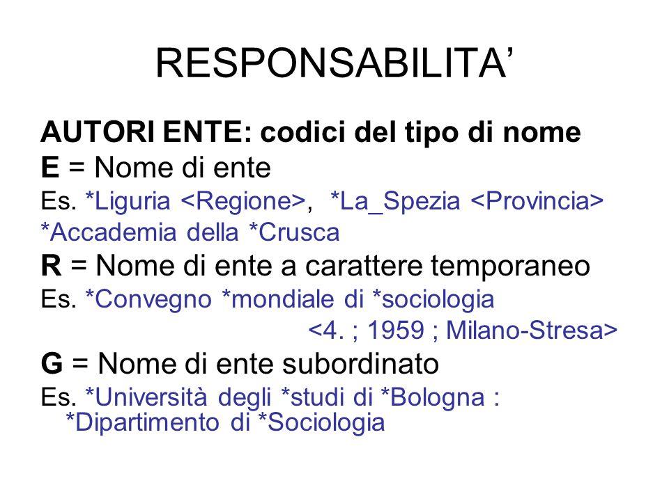 RESPONSABILITA AUTORI ENTE: codici del tipo di nome E = Nome di ente Es. *Liguria, *La_Spezia *Accademia della *Crusca R = Nome di ente a carattere te