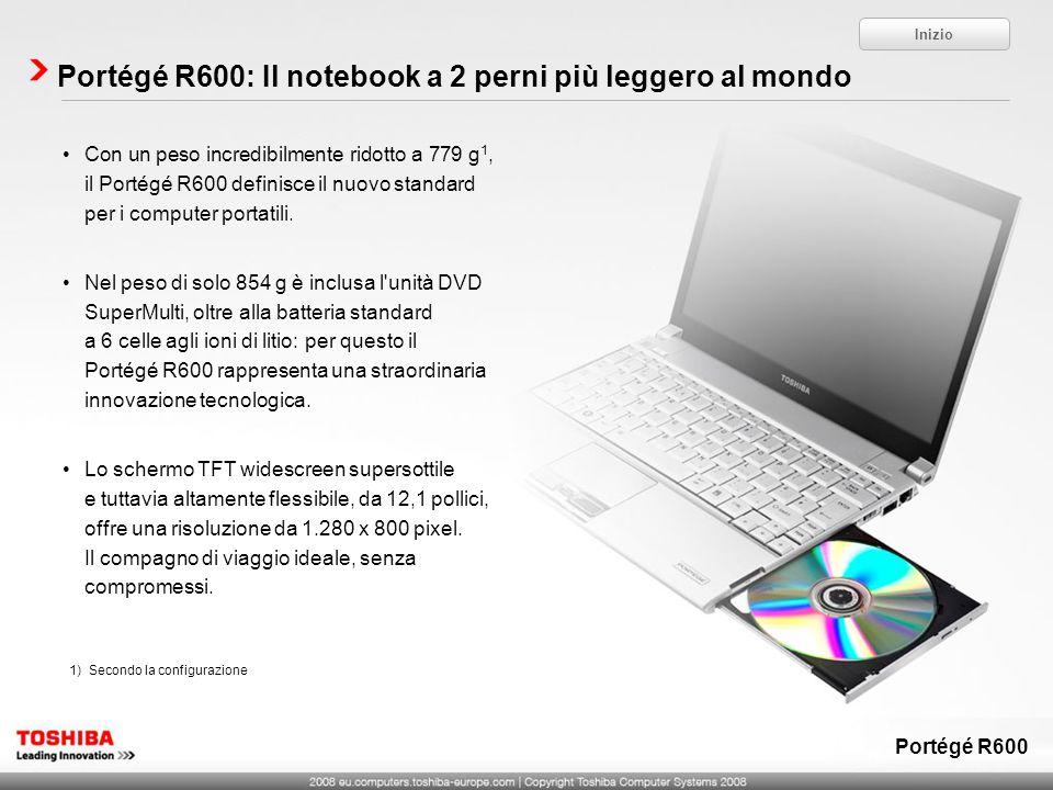 Portégé R600: Il notebook a 2 perni più leggero al mondo Inizio Portégé R600 1)Secondo la configurazione Con un peso incredibilmente ridotto a 779 g 1