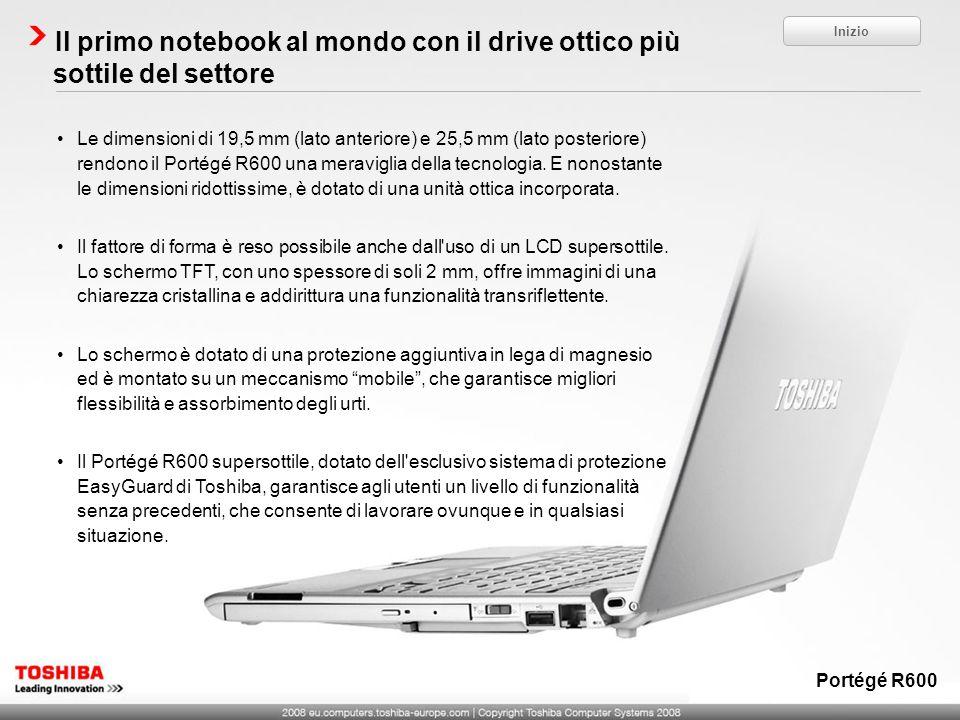 Il primo notebook al mondo con il drive ottico più sottile del settore Inizio Portégé R600 Le dimensioni di 19,5 mm (lato anteriore) e 25,5 mm (lato p