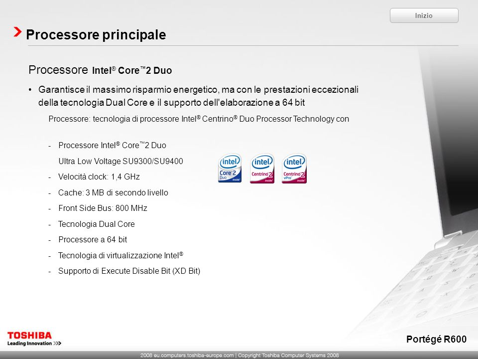 Processore principale Inizio Portégé R600 Processore Intel ® Core 2 Duo Garantisce il massimo risparmio energetico, ma con le prestazioni eccezionali