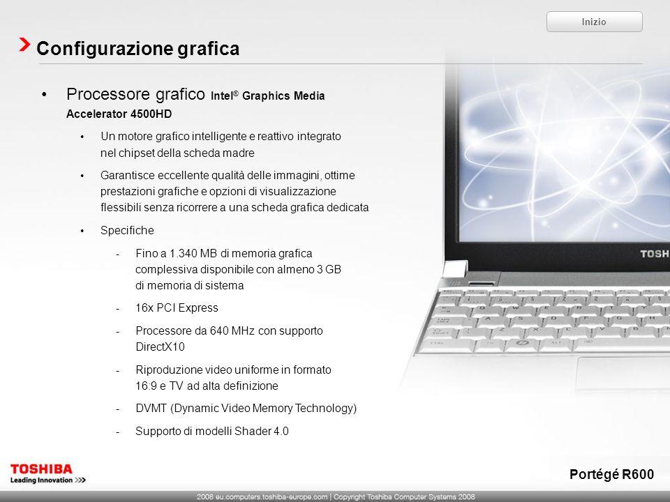 Processore grafico Intel ® Graphics Media Accelerator 4500HD Un motore grafico intelligente e reattivo integrato nel chipset della scheda madre Garant