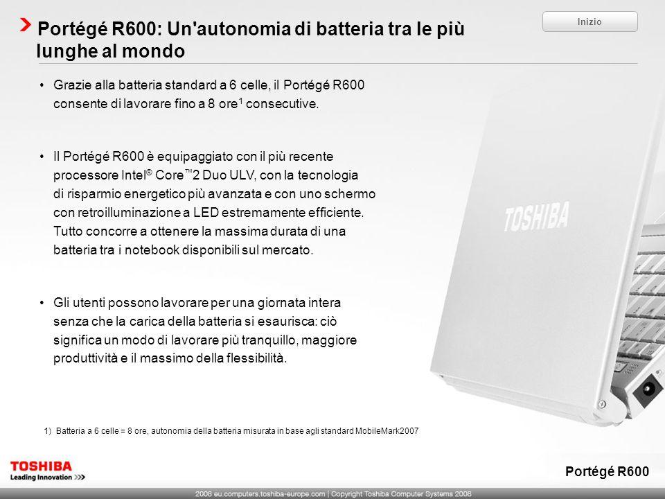 Portégé R600: Un'autonomia di batteria tra le più lunghe al mondo Inizio Portégé R600 1)Batteria a 6 celle = 8 ore, autonomia della batteria misurata