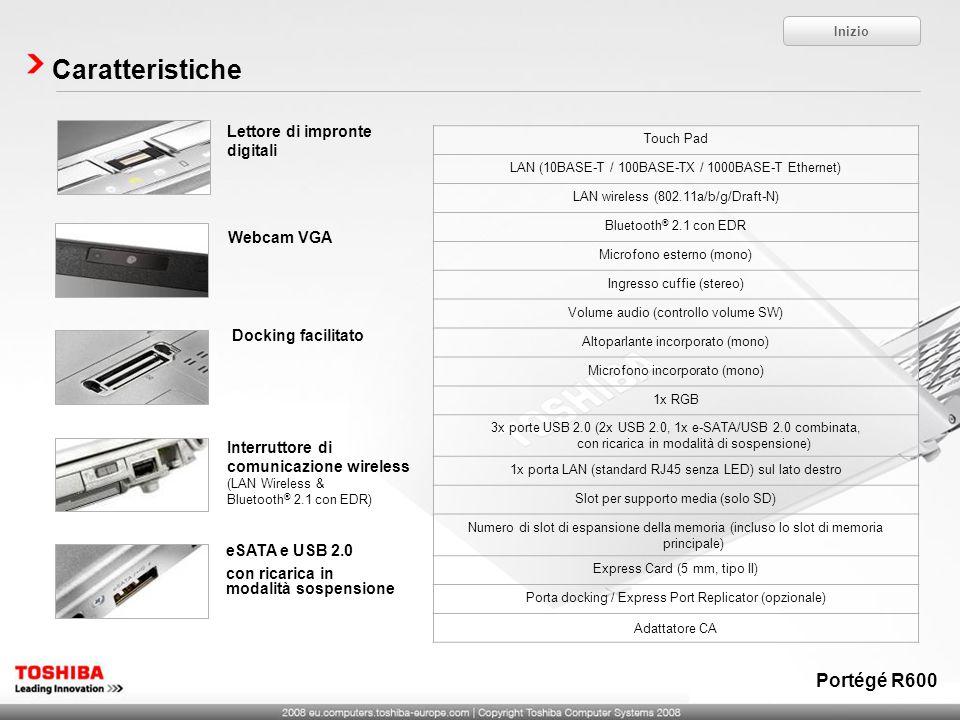 Caratteristiche eSATA e USB 2.0 con ricarica in modalità sospensione Interruttore di comunicazione wireless (LAN Wireless & Bluetooth ® 2.1 con EDR) W