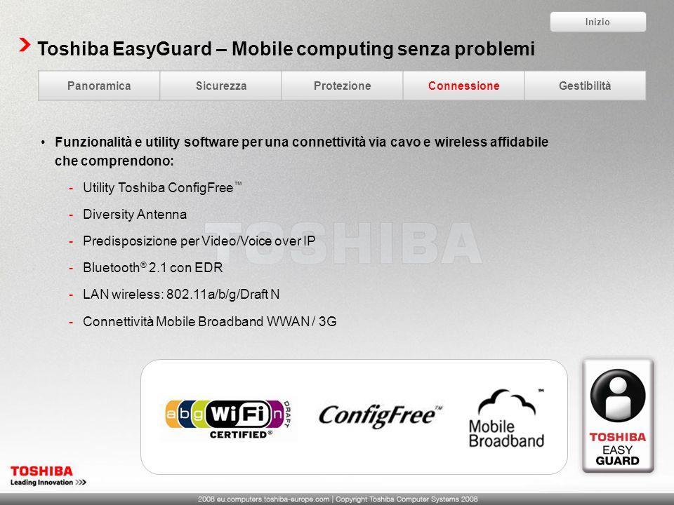 Toshiba EasyGuard – Mobile computing senza problemi Funzionalità e utility software per una connettività via cavo e wireless affidabile che comprendon