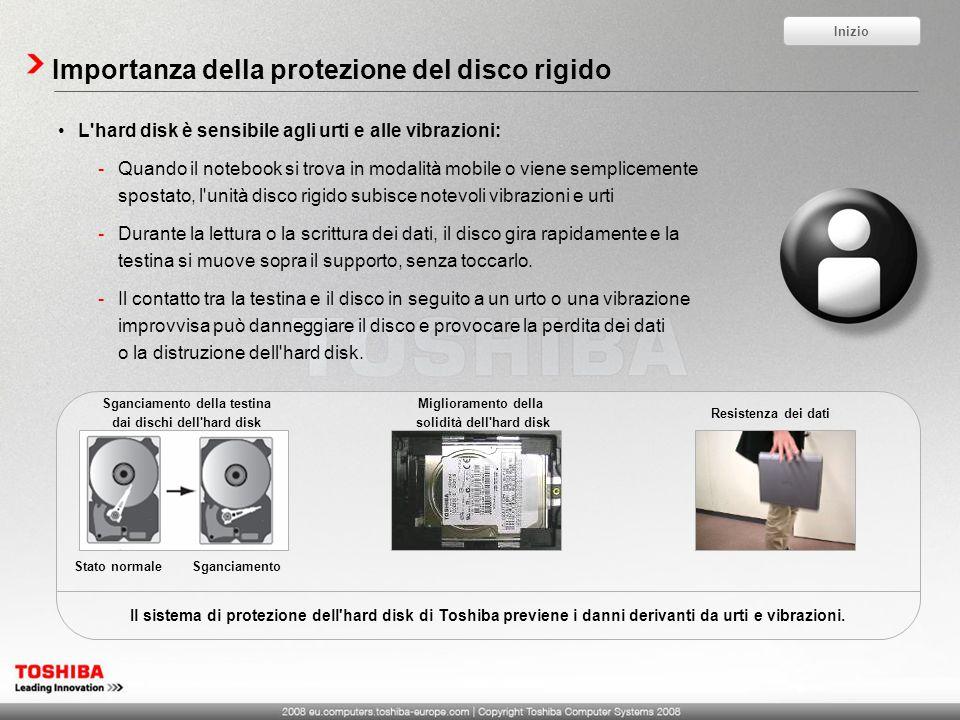 Importanza della protezione del disco rigido L'hard disk è sensibile agli urti e alle vibrazioni: -Quando il notebook si trova in modalità mobile o vi