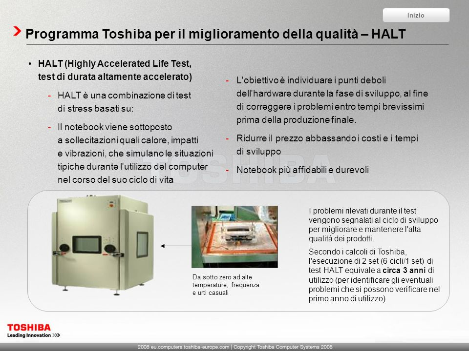 Programma Toshiba per il miglioramento della qualità – HALT HALT (Highly Accelerated Life Test, test di durata altamente accelerato) -HALT è una combi