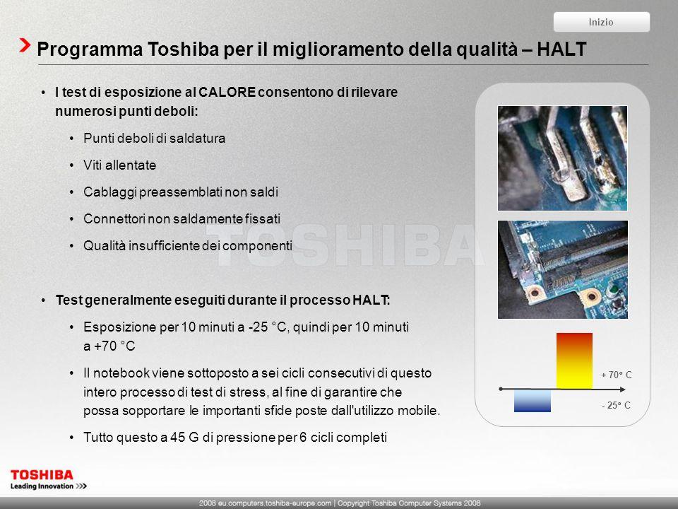 Programma Toshiba per il miglioramento della qualità – HALT I test di esposizione al CALORE consentono di rilevare numerosi punti deboli: Punti deboli