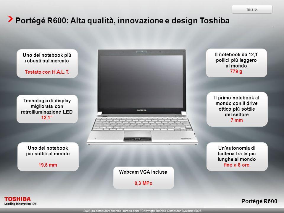 Portégé R600: Alta qualità, innovazione e design Toshiba Uno dei notebook più robusti sul mercato Testato con H.A.L.T. Webcam VGA inclusa 0,3 MPx Il n