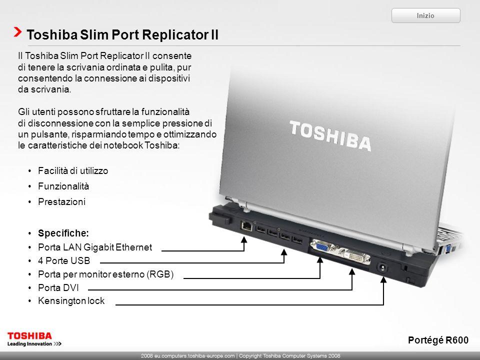 Toshiba Slim Port Replicator II Il Toshiba Slim Port Replicator II consente di tenere la scrivania ordinata e pulita, pur consentendo la connessione a