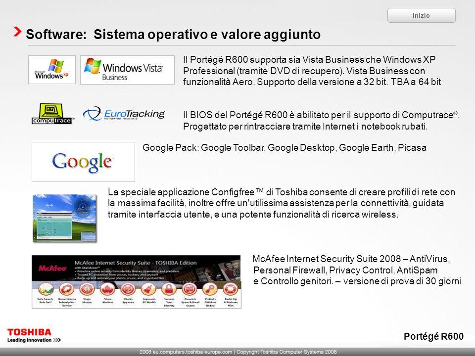 Software: Sistema operativo e valore aggiunto Il Portégé R600 supporta sia Vista Business che Windows XP Professional (tramite DVD di recupero). Vista