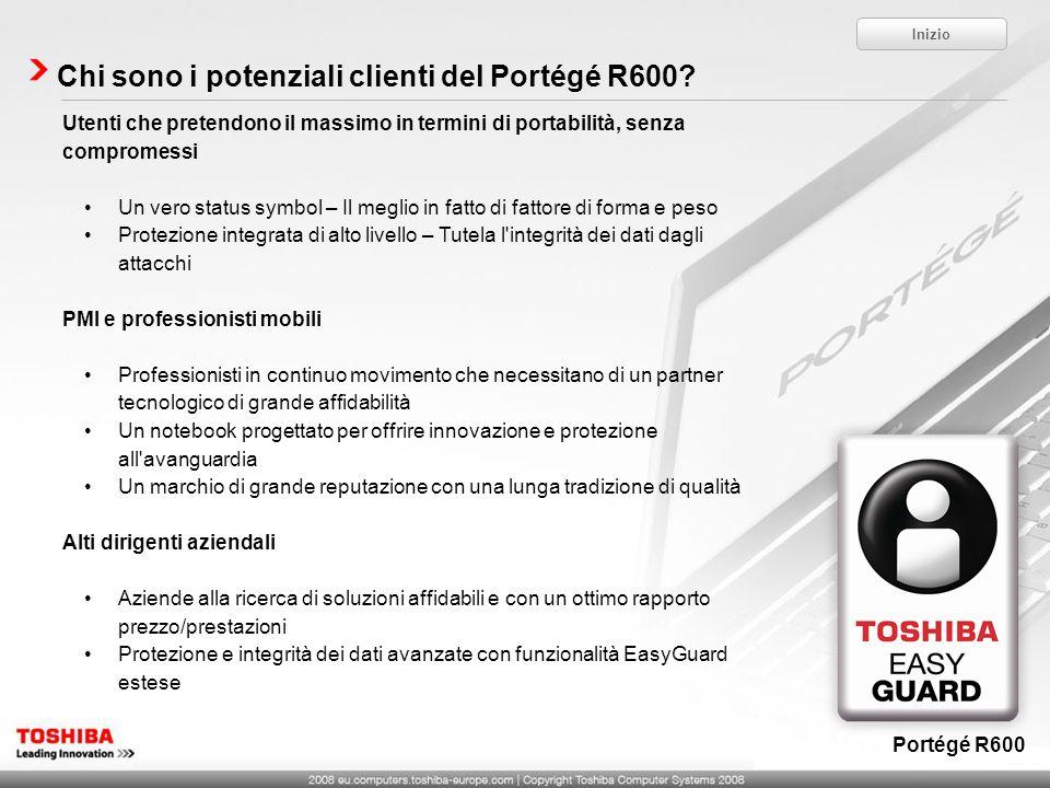 Chi sono i potenziali clienti del Portégé R600? Utenti che pretendono il massimo in termini di portabilità, senza compromessi Un vero status symbol –