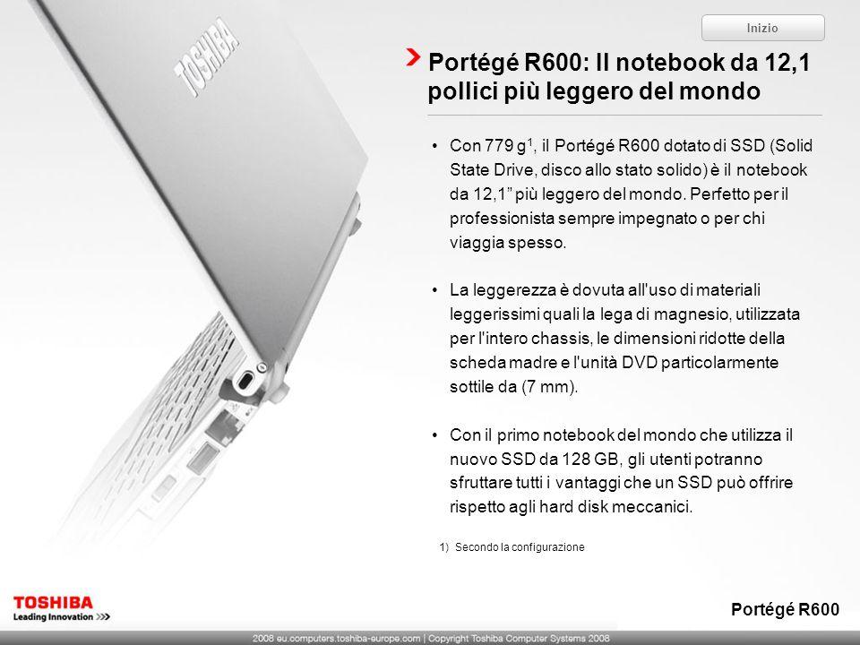 Portégé R600: Il notebook da 12,1 pollici più leggero del mondo Inizio Portégé R600 1)Secondo la configurazione Con 779 g 1, il Portégé R600 dotato di
