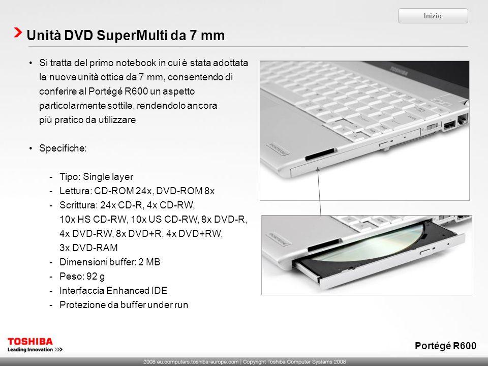 Unità DVD SuperMulti da 7 mm Inizio Portégé R600 Si tratta del primo notebook in cui è stata adottata la nuova unità ottica da 7 mm, consentendo di co