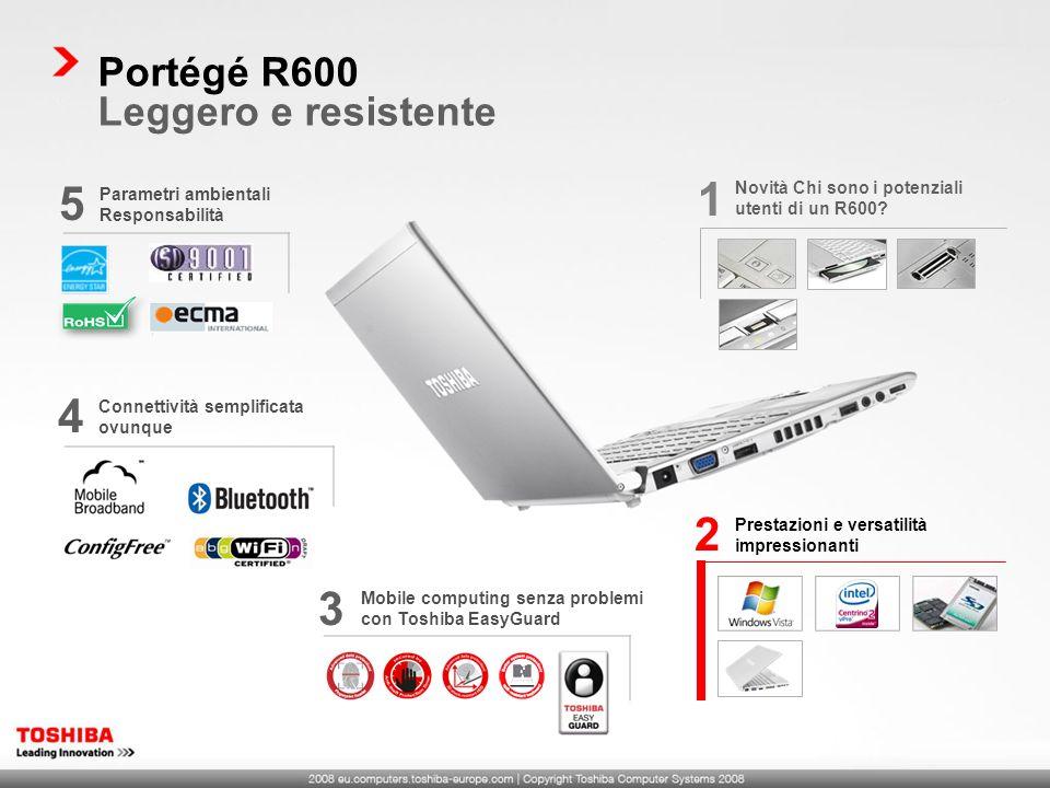 Mobile computing senza problemi con Toshiba EasyGuard 3 Portégé R600 Leggero e resistente Parametri ambientali Responsabilità 5 Connettività semplific