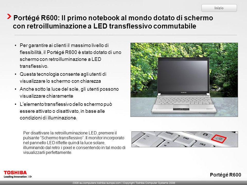 Portégé R600: Il primo notebook al mondo dotato di schermo con retroilluminazione a LED transflessivo commutabile Per disattivare la retroilluminazion
