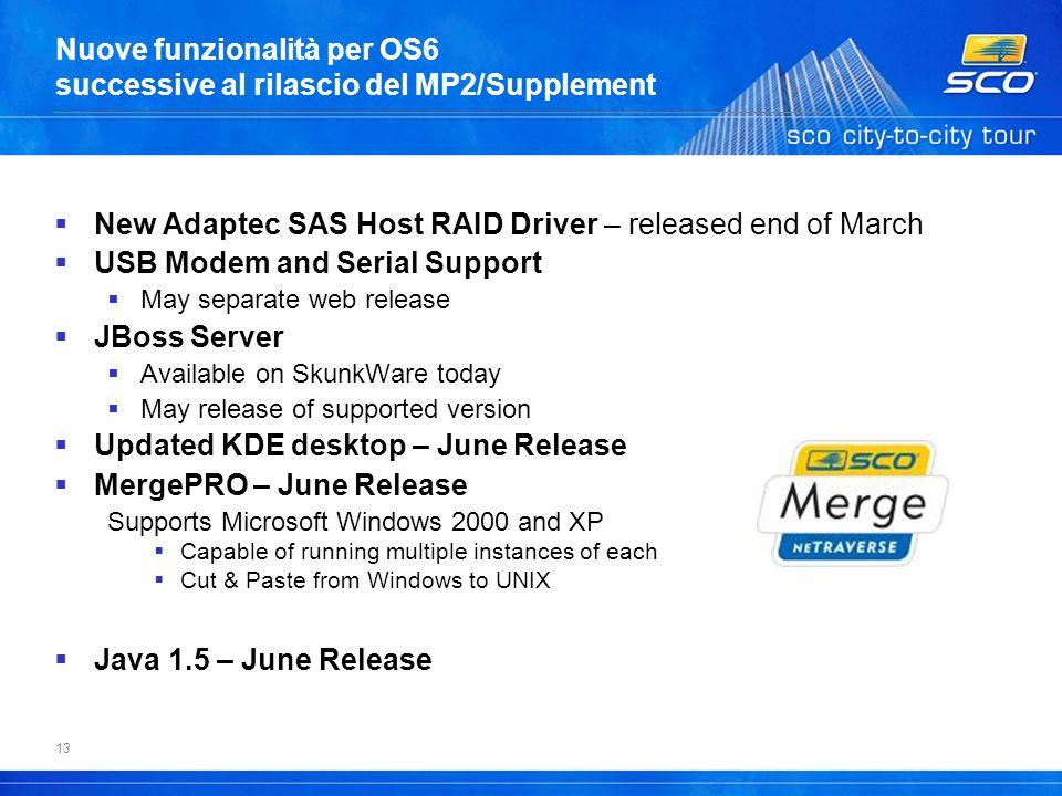 13 Nuove funzionalità per OS6 successive al rilascio del MP2/Supplement New Adaptec SAS Host RAID Driver – released end of March USB Modem and Serial