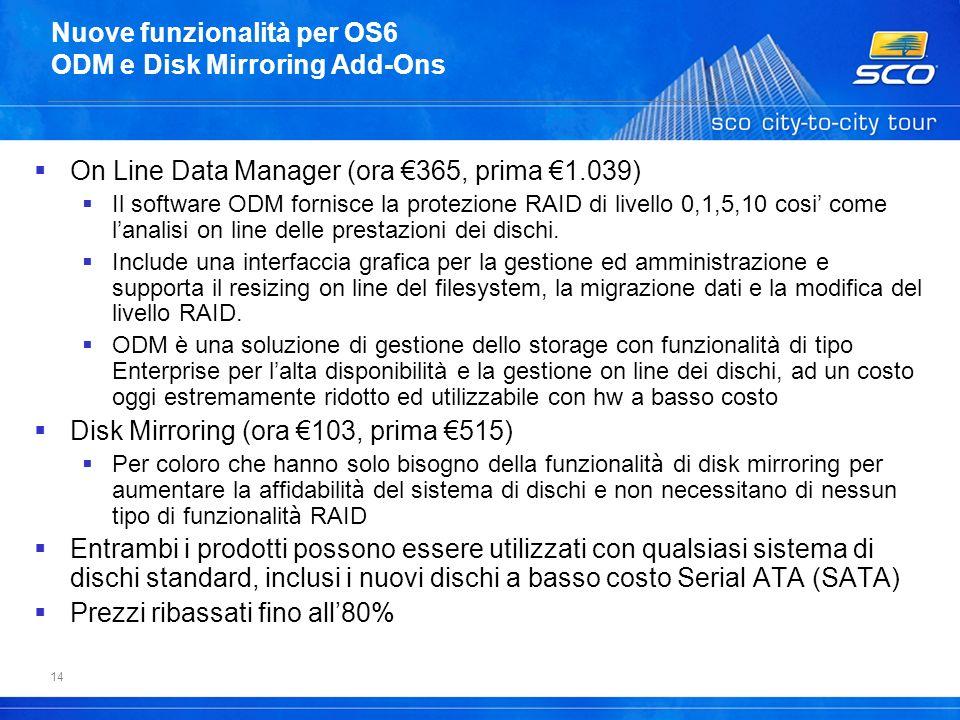 14 Nuove funzionalità per OS6 ODM e Disk Mirroring Add-Ons On Line Data Manager (ora 365, prima 1.039) Il software ODM fornisce la protezione RAID di livello 0,1,5,10 cosi come lanalisi on line delle prestazioni dei dischi.