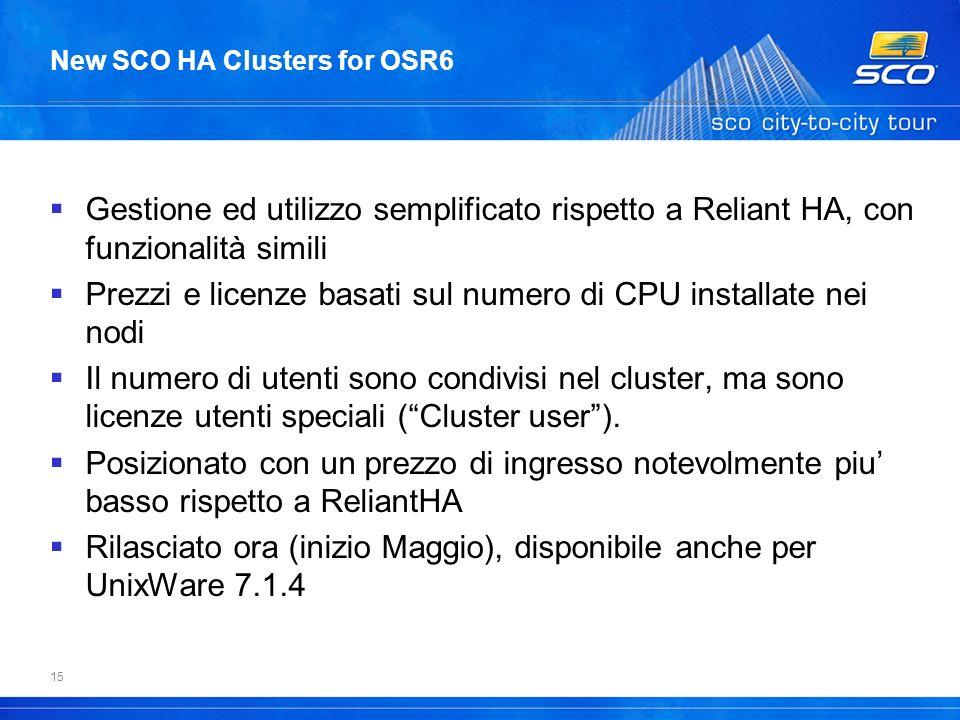 15 New SCO HA Clusters for OSR6 Gestione ed utilizzo semplificato rispetto a Reliant HA, con funzionalità simili Prezzi e licenze basati sul numero di CPU installate nei nodi Il numero di utenti sono condivisi nel cluster, ma sono licenze utenti speciali (Cluster user).