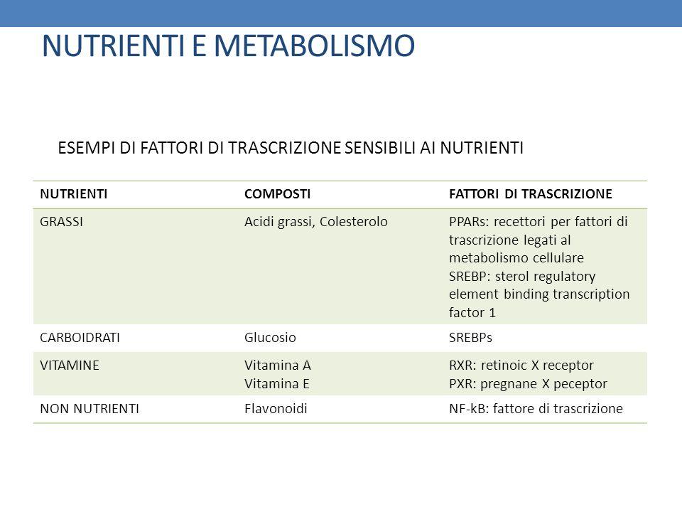 NUTRIENTI E METABOLISMO NUTRIENTICOMPOSTIFATTORI DI TRASCRIZIONE GRASSIAcidi grassi, ColesteroloPPARs: recettori per fattori di trascrizione legati al