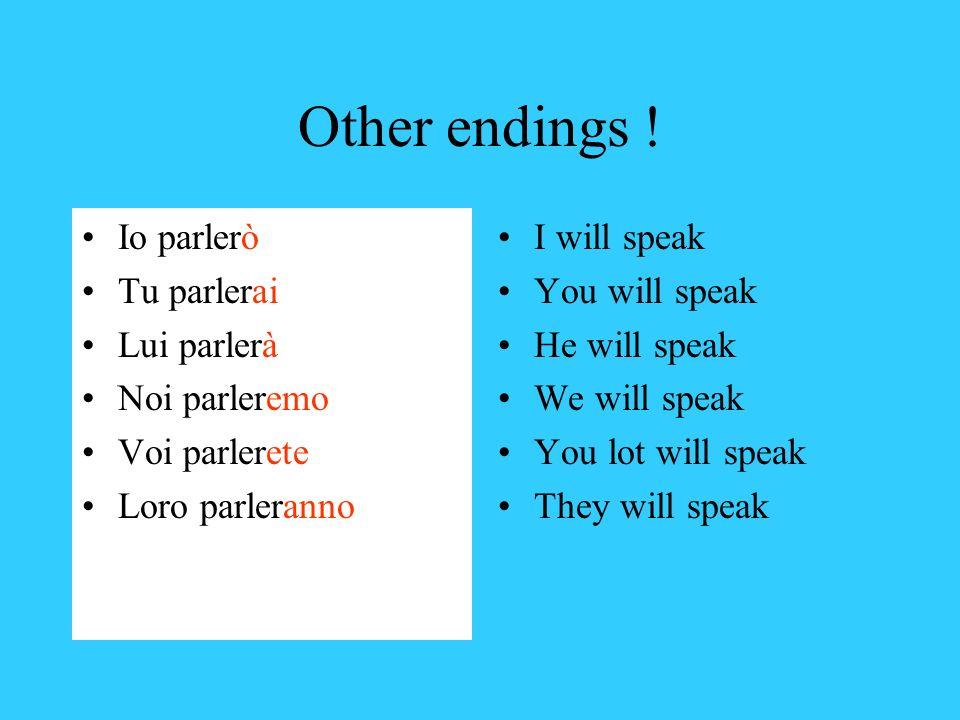 Other endings ! Io parlerò Tu parlerai Lui parlerà Noi parleremo Voi parlerete Loro parleranno I will speak You will speak He will speak We will speak