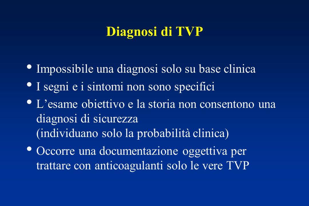 Diagnosi di TVP Impossibile una diagnosi solo su base clinica I segni e i sintomi non sono specifici Lesame obiettivo e la storia non consentono una d