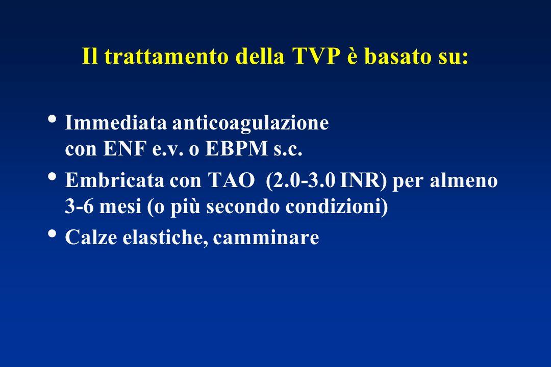Il trattamento della TVP è basato su: Immediata anticoagulazione con ENF e.v. o EBPM s.c. Embricata con TAO (2.0-3.0 INR) per almeno 3-6 mesi (o più s