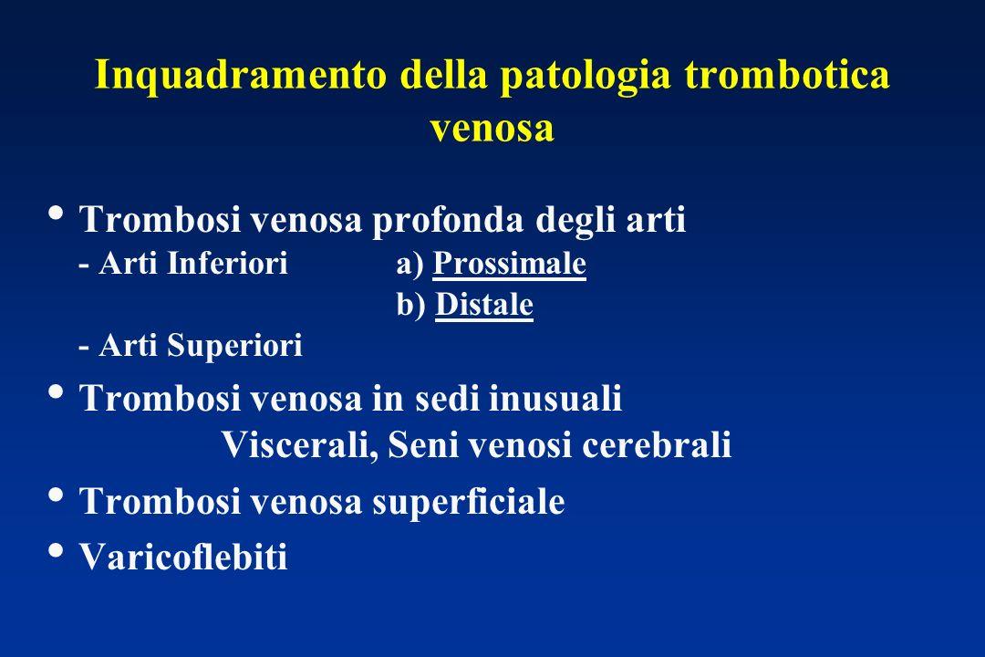 Inquadramento della patologia trombotica venosa Trombosi venosa profonda degli arti - Arti Inferioria) Prossimale b) Distale - Arti Superiori Trombosi