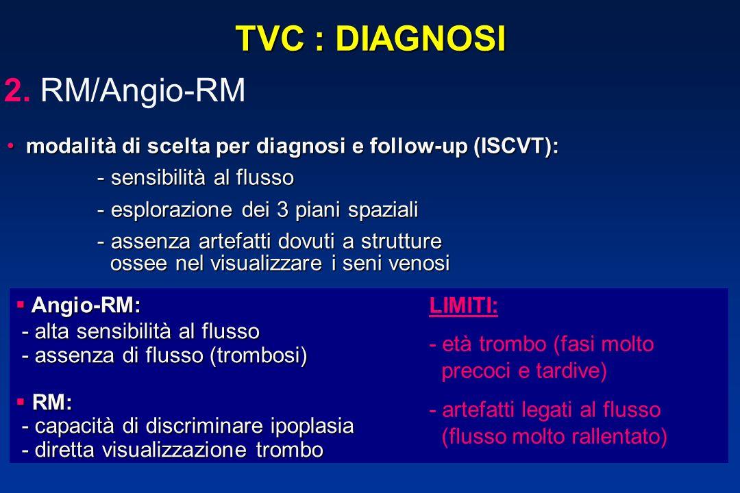 TVC : DIAGNOSI modalità di scelta per diagnosi e follow-up (ISCVT): modalità di scelta per diagnosi e follow-up (ISCVT): - sensibilità al flusso - sen